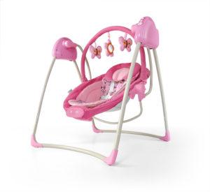 różowa huśtawka dla niemowlaka